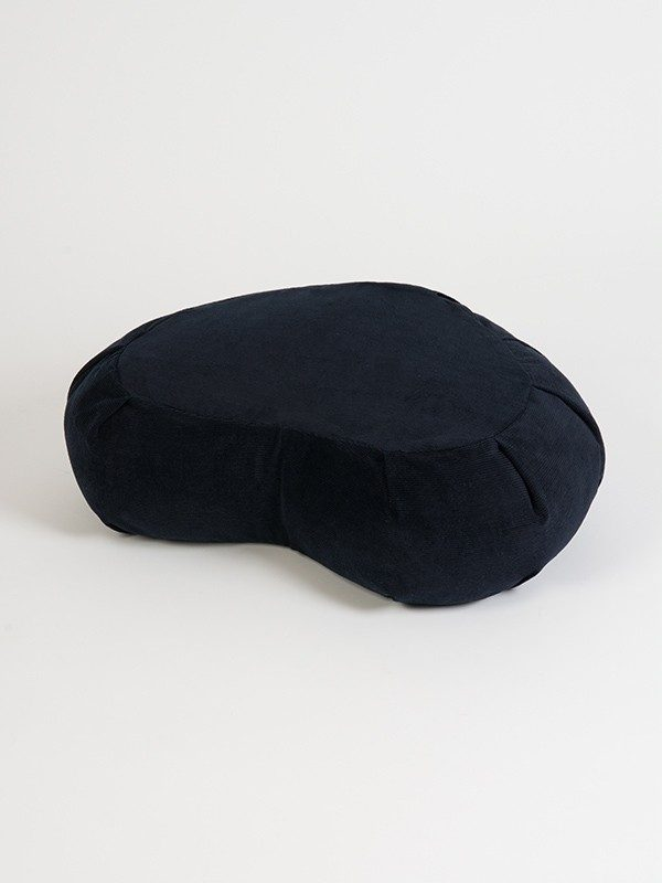 Yoga Studio European Organic Buckwheat Zafu Crescent Cushion | Navy Blue Corduroy