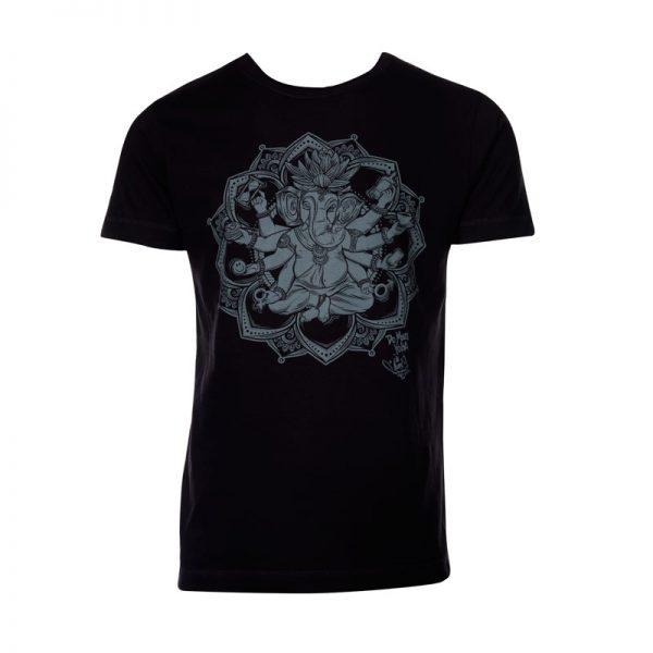"MoreYoga ""Yogangster"" Ganesh | Men's Black T-Shirt with Silver Print"