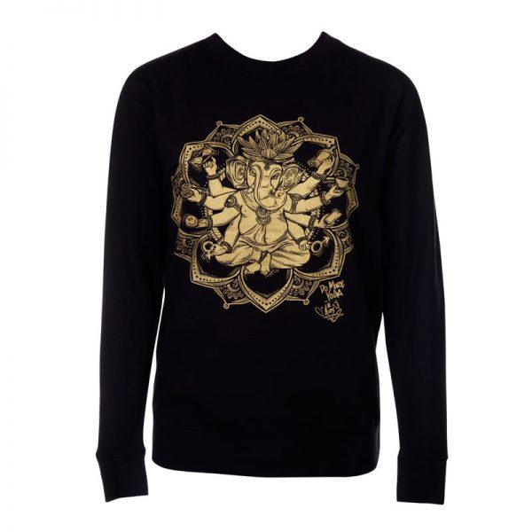 """MoreYoga """"Yogangster"""" Ganesh   Unisex Black Jumper with Gold Print"""