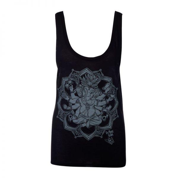 "MoreYoga ""Yogangster"" Ganesh | Women's Black Vest with Silver Print"