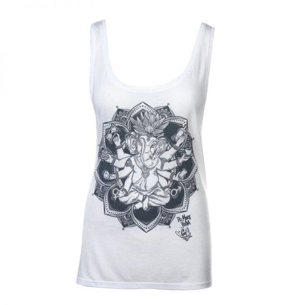 "MoreYoga ""Yogangster"" Ganesh   Women's White Vest with Dark Grey Print"