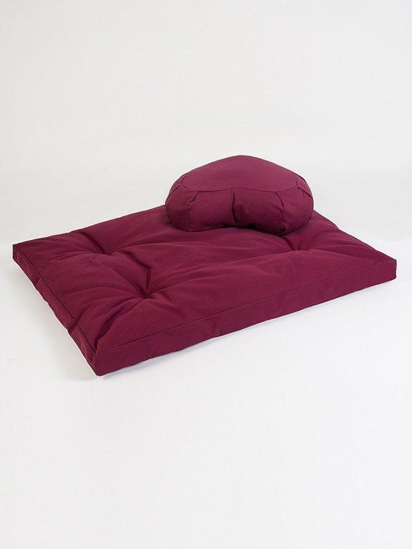 Yoga Studio European Zabuton & Crescent Cushion Organic Kit | Burgundy
