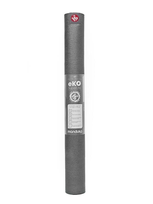 Manduka eKO SuperLite Travel Yoga Mat | Charcoal - Rolled with label