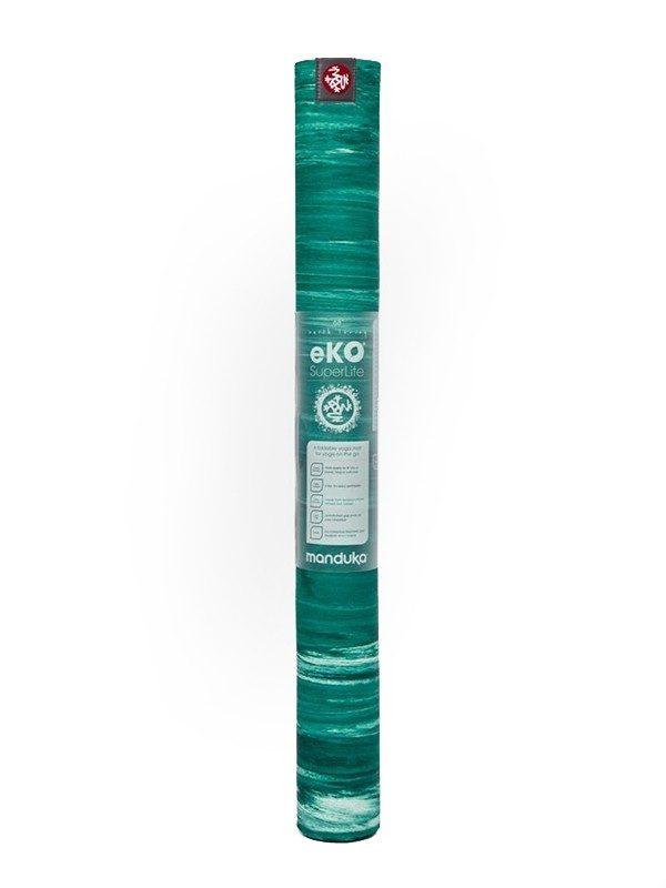 Manduka eKO SuperLite Travel Yoga Mat   Steppe - Rolled with label