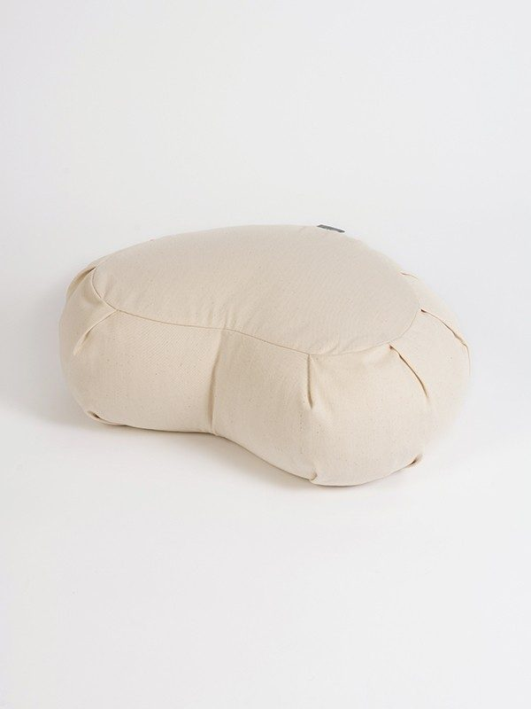 Yoga Studio European Organic Buckwheat Zafu Crescent Cushion | Natural White