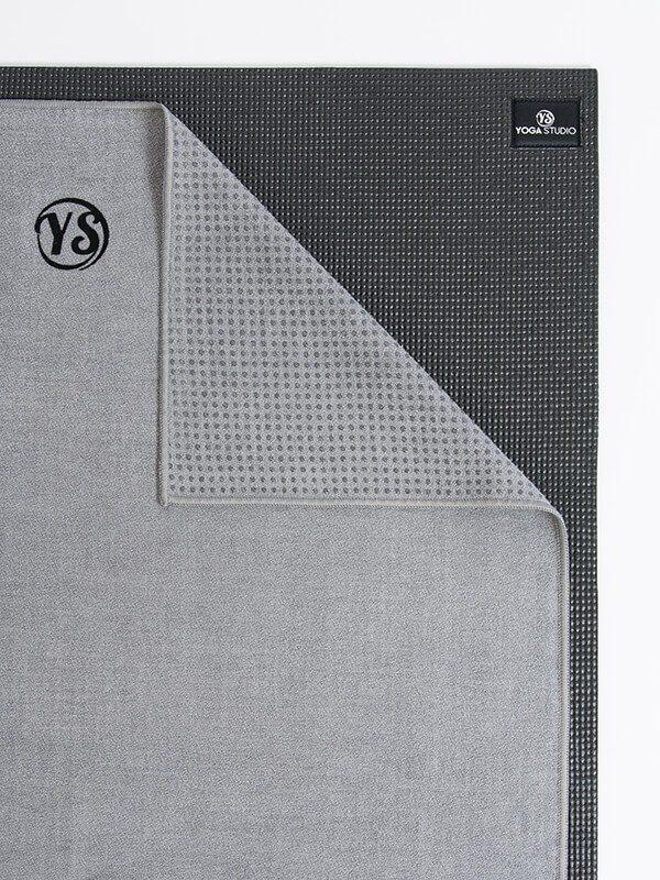 Premium Yoga Mat Grip Dot Towels | Grey (Folded Corner)