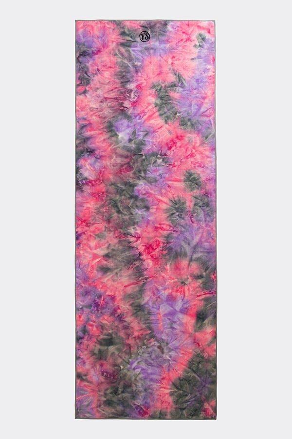 Premium Yoga Mat Grip Dot Towels | Purple Tie Dye (Flat)