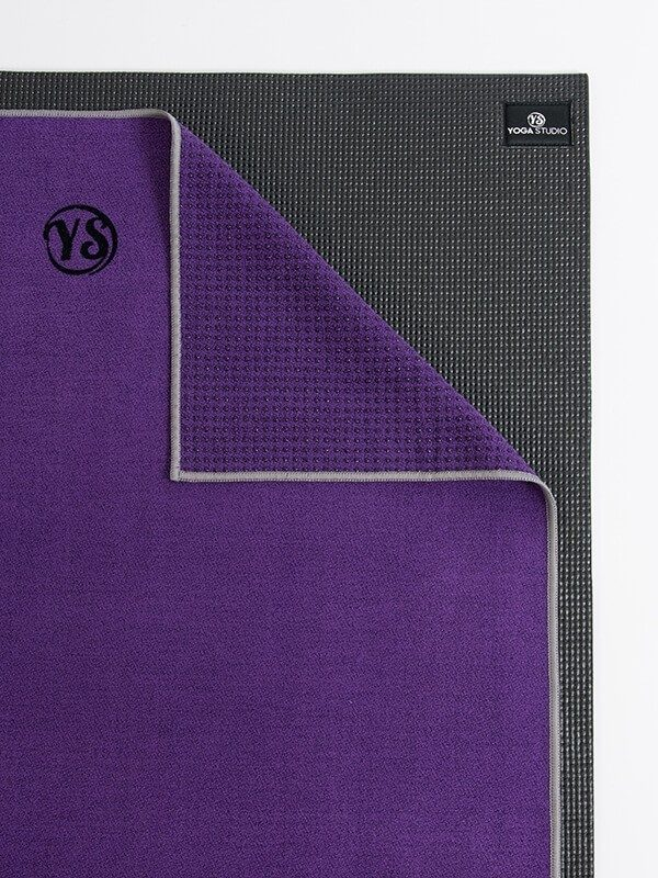 Premium Yoga Mat Grip Dot Towels | Dark Purple (Folded Corner)