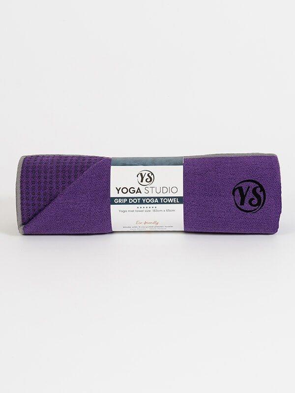 Premium Yoga Mat Grip Dot Towels | Dark Purple (Rolled)