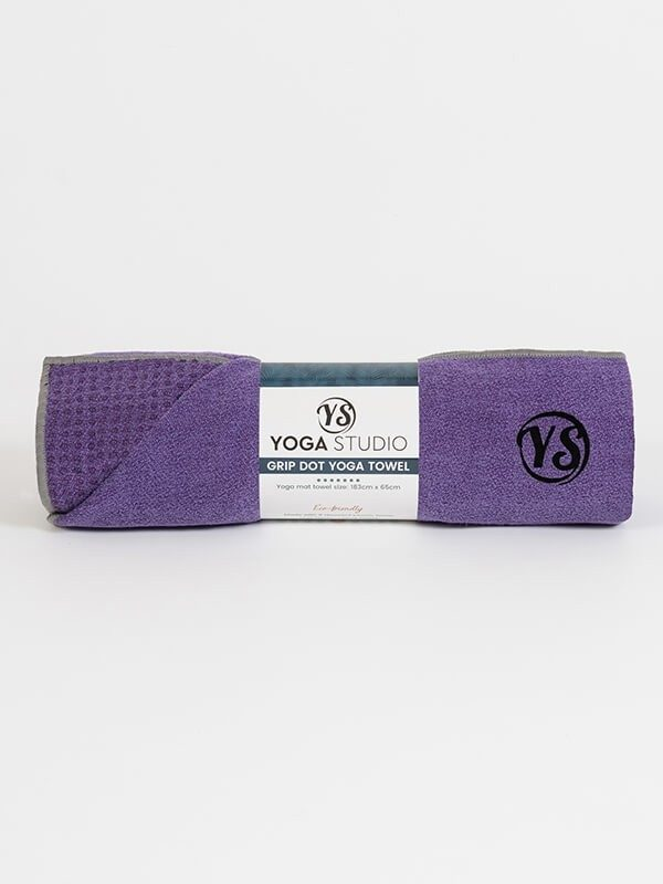 Premium Yoga Mat Grip Dot Towels | Purple (Rolled)