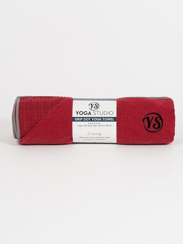 Premium Yoga Mat Grip Dot Towels | Red (Rolled)
