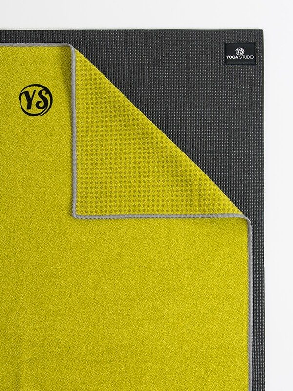 Premium Yoga Mat Grip Dot Towels | Lime Green (Flat)