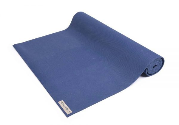 Jade Yoga Harmony 68 Inch Yoga Mat | Midnight Blue - Half Rolled