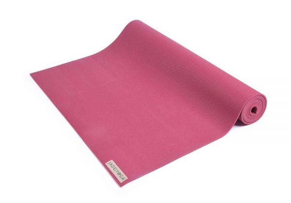 Jade Yoga Harmony 68 Inch Yoga Mat | Raspberry - Half Rolled
