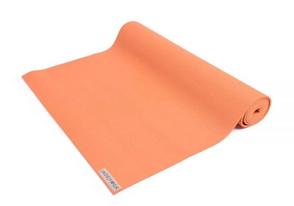 Jade Yoga Harmony 68 Inch Yoga Mat | Tibetan Orange - Half Rolled