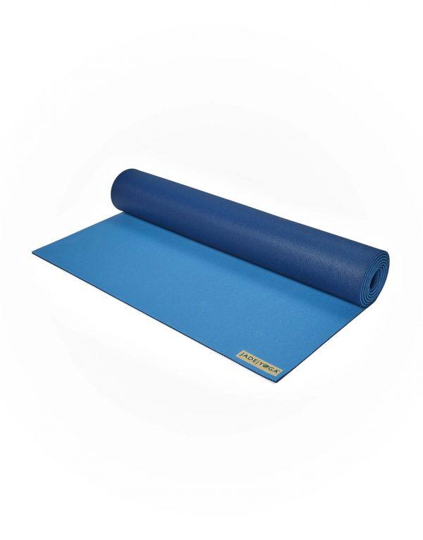 Jade Yoga Harmony 71 Inch Yoga Mat | Slate / Midnight Blue - Half Rolled