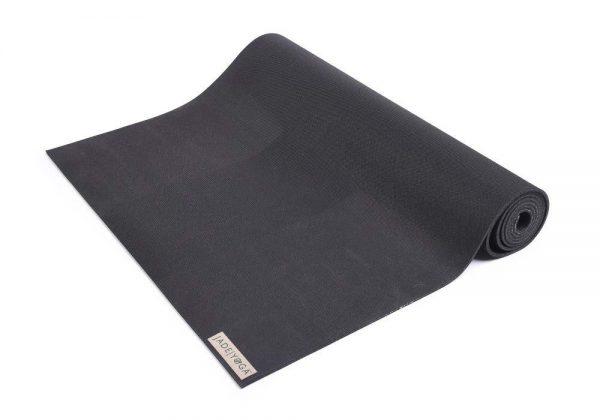 Jade Yoga Harmony 74 Inch Yoga Mat | Black - Half Rolled