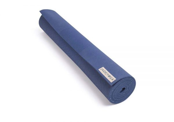 Jade Yoga Harmony 74 Inch Yoga Mat | Midnight Blue - Rolled
