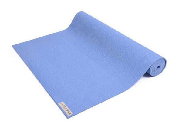 Jade Yoga Harmony 74 Inch Yoga Mat | Slate Blue - Half Rolled