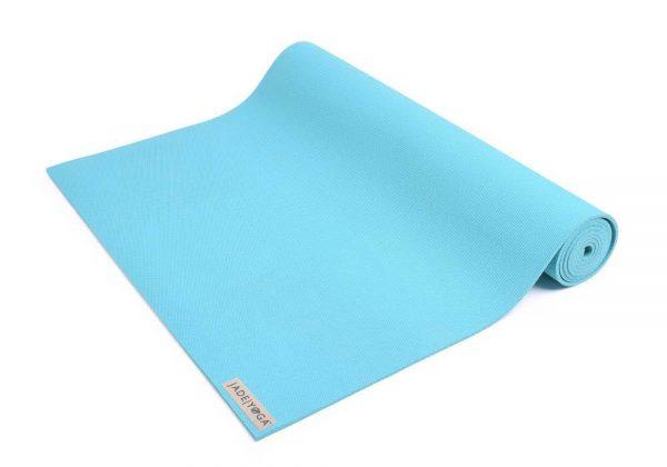 Jade Yoga Harmony 74 Inch Yoga Mat | Teal - Half Rolled