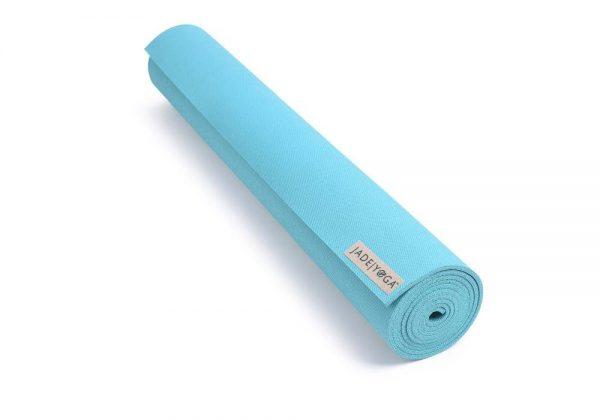 Jade Yoga Harmony 74 Inch Yoga Mat | Teal - Rolled