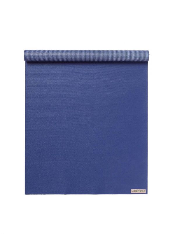 Jade Yoga Voyager Yoga Mat 1.6mm | Midnight Blue - Half rolled