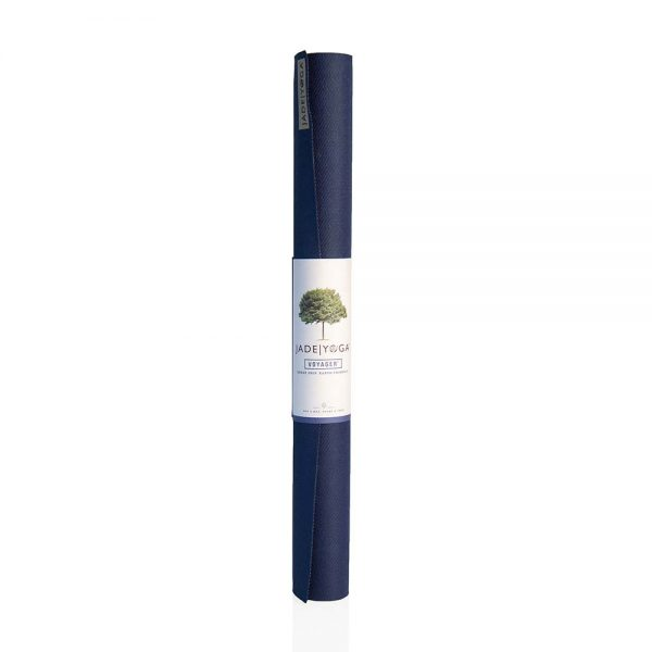 Jade Yoga Voyager Yoga Mat 1.6mm | Midnight Blue - Rolled with label