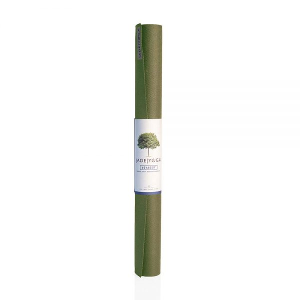Jade Yoga Voyager Yoga Mat 1.6mm | Olive - Rolled with label