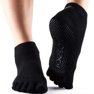 ToeSox Ankle Full Toe Yoga Socks | Black