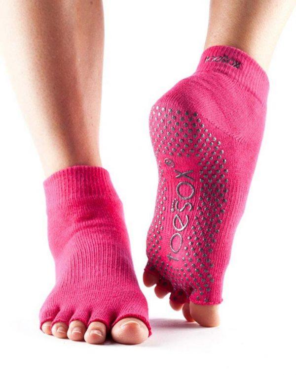 ToeSox Ankle Half Toe Yoga Socks | Fuchsia