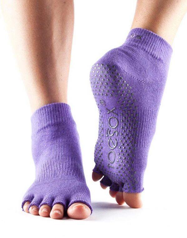 ToeSox Ankle Half Toe Yoga Socks | Light Purple