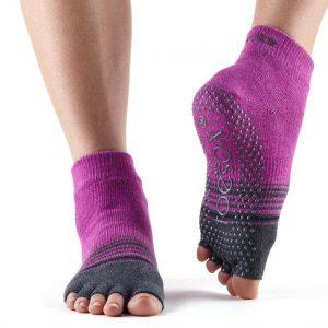 ToeSox Ankle Half Toe Yoga Socks | Mulberry Stripe