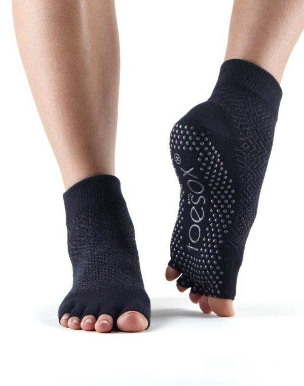 ToeSox Ankle Half Toe Yoga Socks | Black